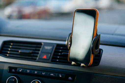 Phone mockup in a car mount