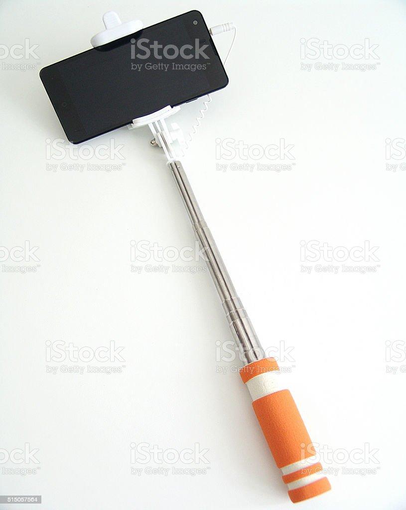 Phone on a Selfie Stick stock photo