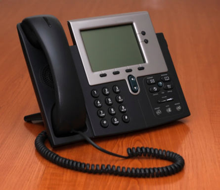Ip Phone On A Table Stock Photo - Download Image Now