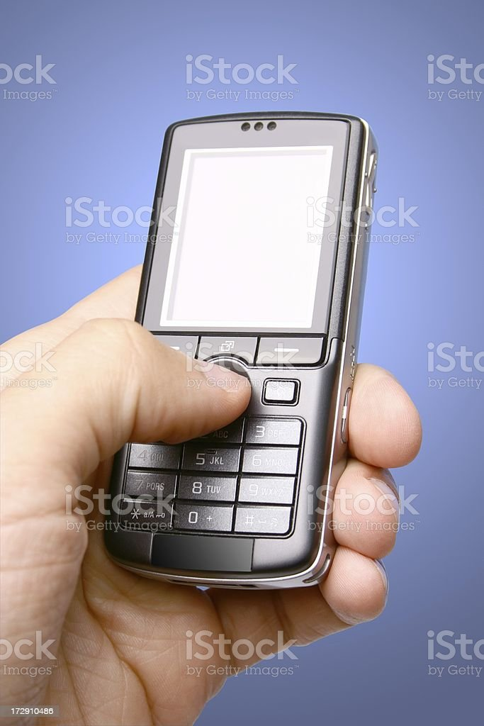Phone on blue background stock photo