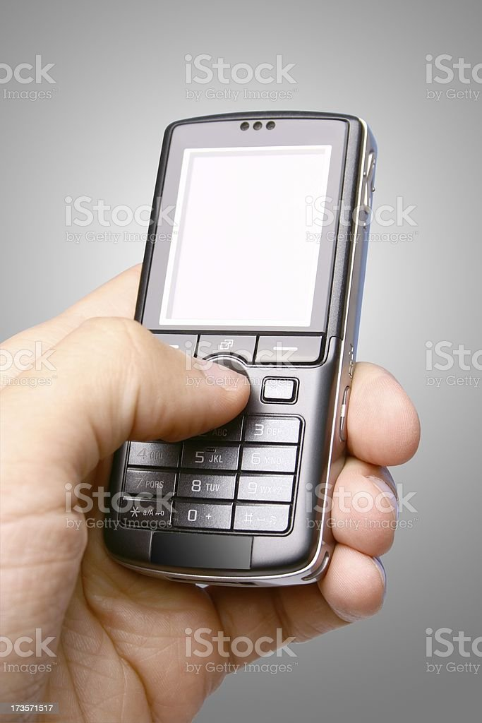 Phone on gray background stock photo