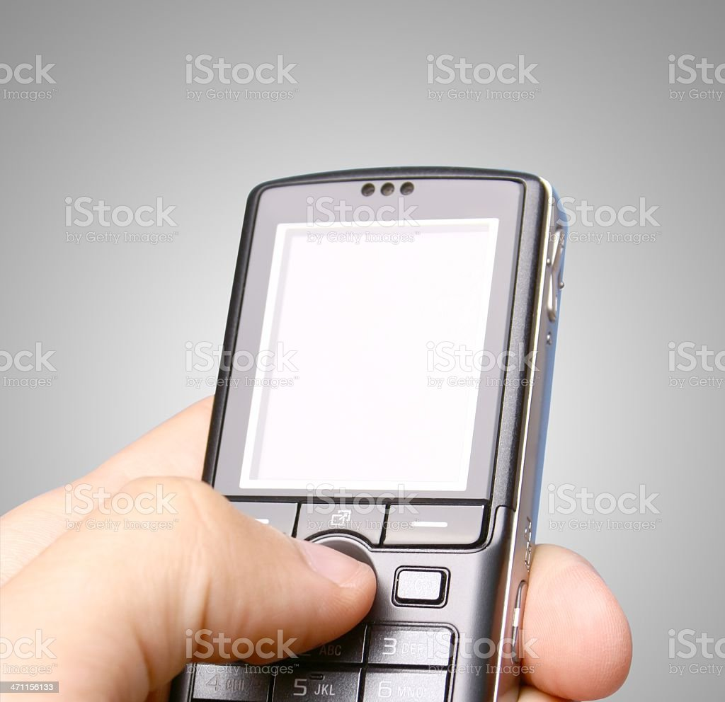 Phone on gray background royalty-free stock photo