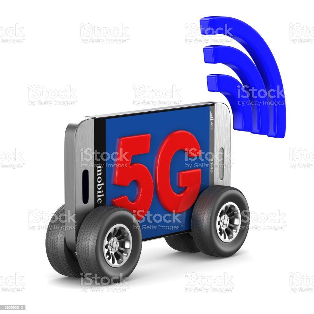 5G-telefoon op witte achtergrond. Geïsoleerde 3D illustratie - Royalty-free 5G Stockfoto