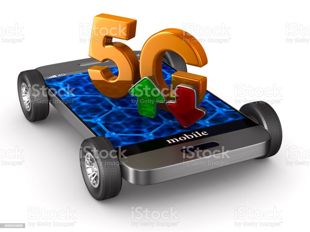 5G phone on white background. Isolated 3D illustration stock photo