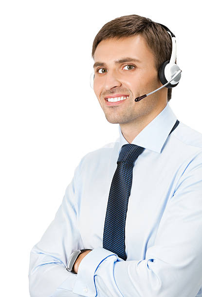 Phone operator in headset, isolated stock photo