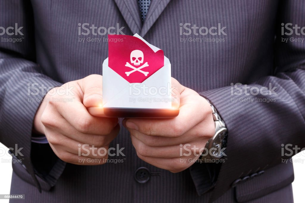 Phone received a letter with a virus. stock photo