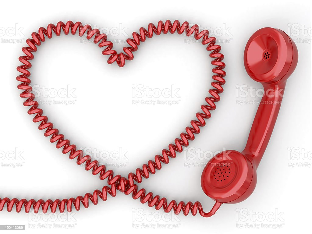 Phone reciever and cord as heart. Love hotline concept. royalty-free stock photo