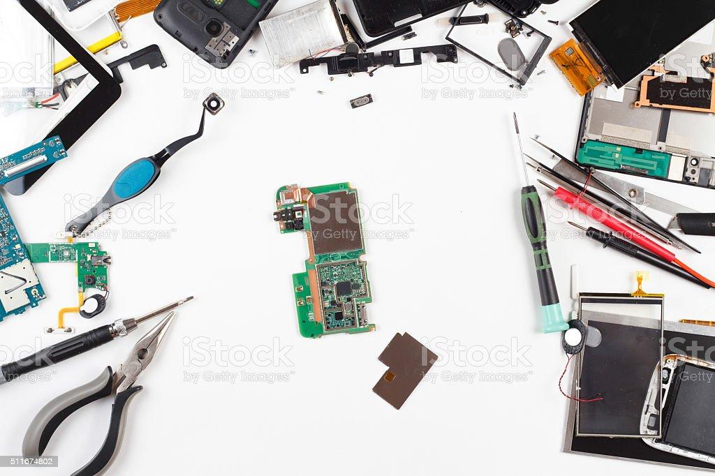 phone repair top view stock photo