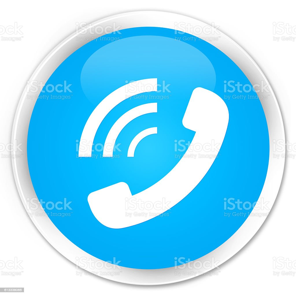 Phone ringing icon cyan blue glossy round button stock photo