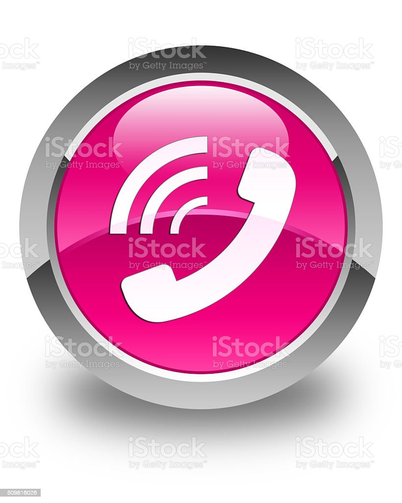 Phone ringing icon glossy pink round button stock photo