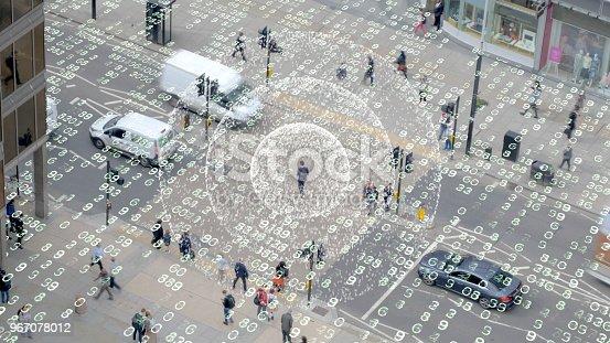 istock Phone signal in a data matrix city. 967078012