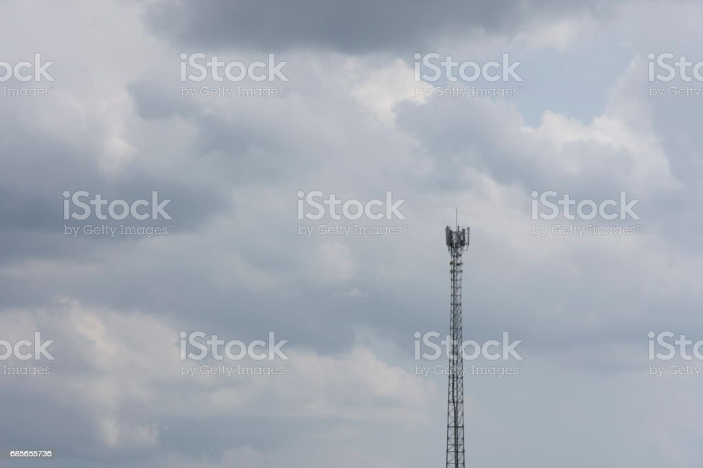 Phone signal pole in most cloudy. royalty-free 스톡 사진