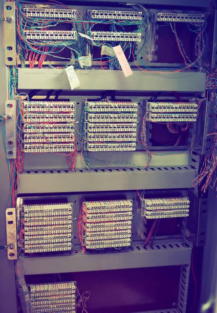 Conexão do sistema de telefone PBX - foto de acervo