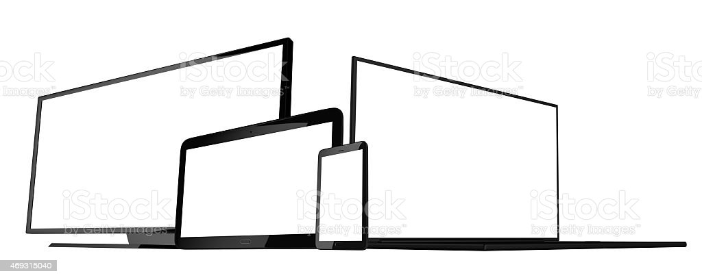 phone tablet laptop and monitor stock photo
