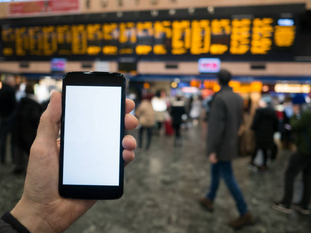 Phone template - Train station concourse background. stock photo