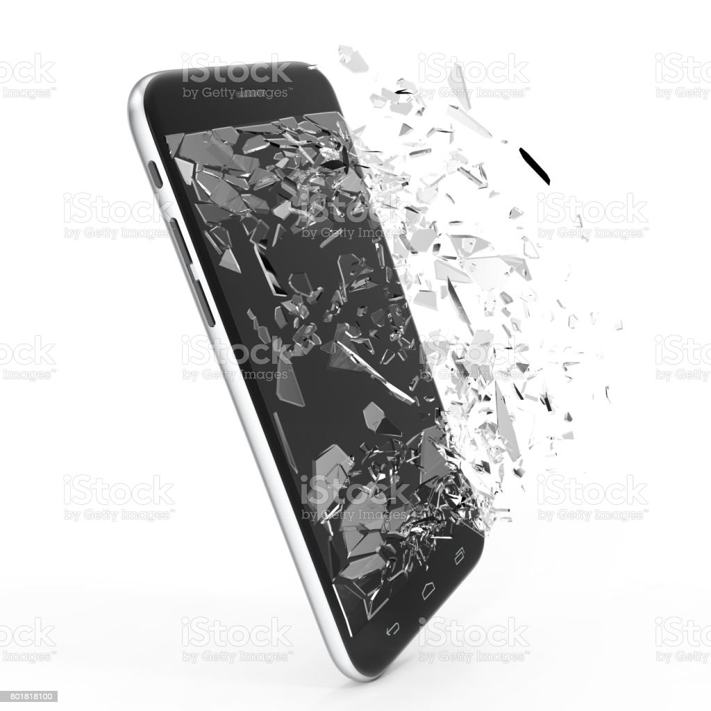 Phone with broken screen isolated on white background for your design project, 3D Rendering stock photo