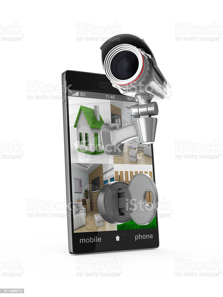 phone with camera on white background. Isolated 3D image stock photo
