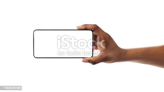 614011750istockphoto Phone With Empty Screen In Black Female Hand, Mockup, Isolated 1165528165