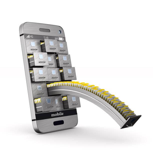 telefon mit aktenschrank auf weißem hintergrund. isolierte 3d-illustration - telefonschrank stock-fotos und bilder