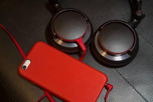 Phone with Headphones stock photo