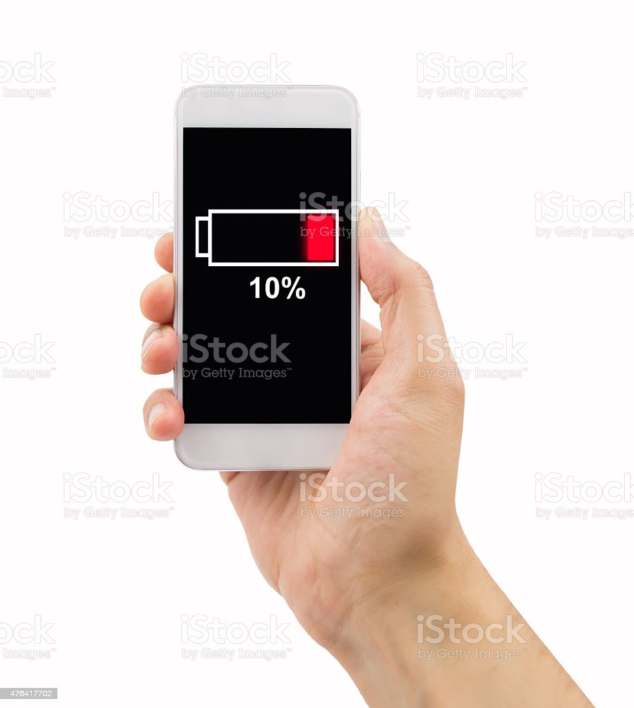 phone with low battery stock photo