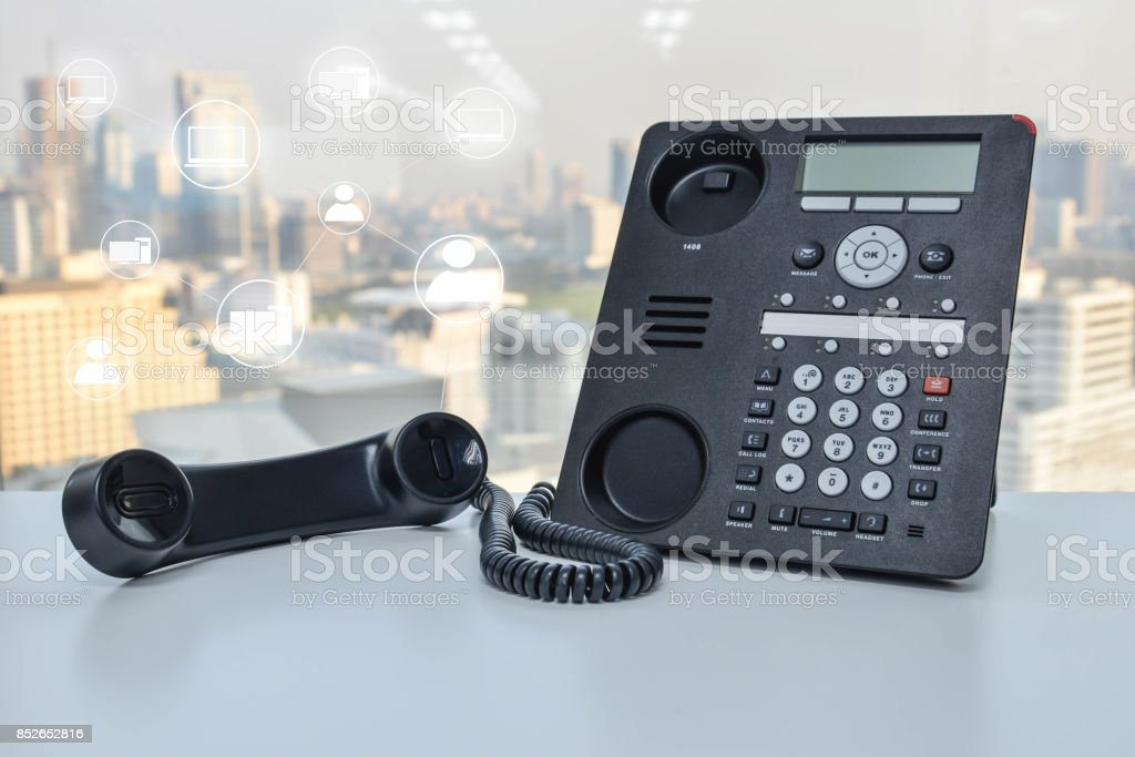 IP Phone with photo shop icon for concept technology connect to other device stock photo