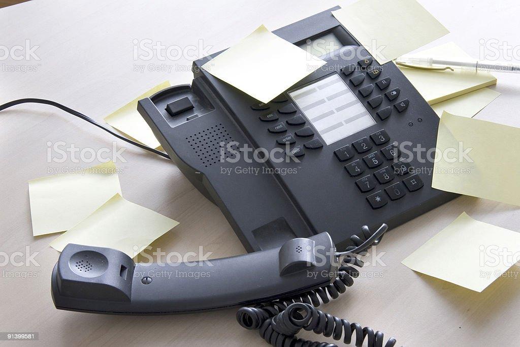 Phone with postits stock photo