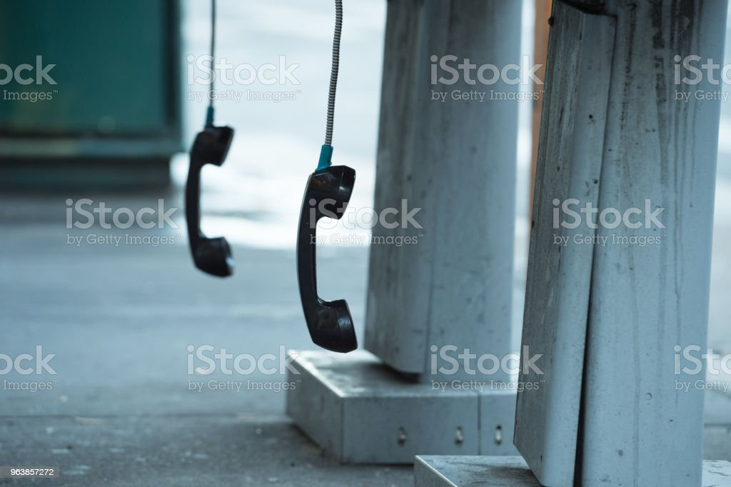 Phonebooth phone hanging free, in New York - Royalty-free Booth Stock Photo