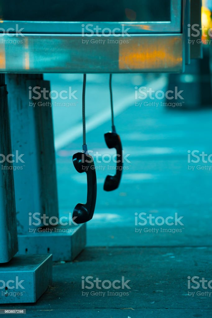 Phonebooth phone hanging free, in New York - foto stock