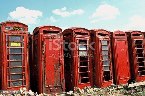 old british telephone phoneboxes abandoned on scrapyard