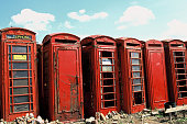 old british telephone phoneboxes abandoned on scrapyard
