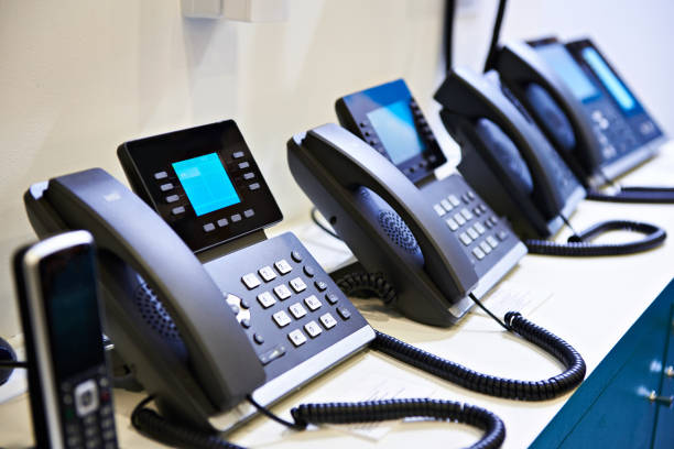 IP phones for office on store stock photo