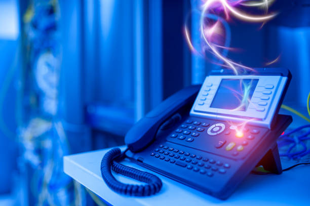 IP  phones with VoIP technology are outstanding in international usage. stock photo