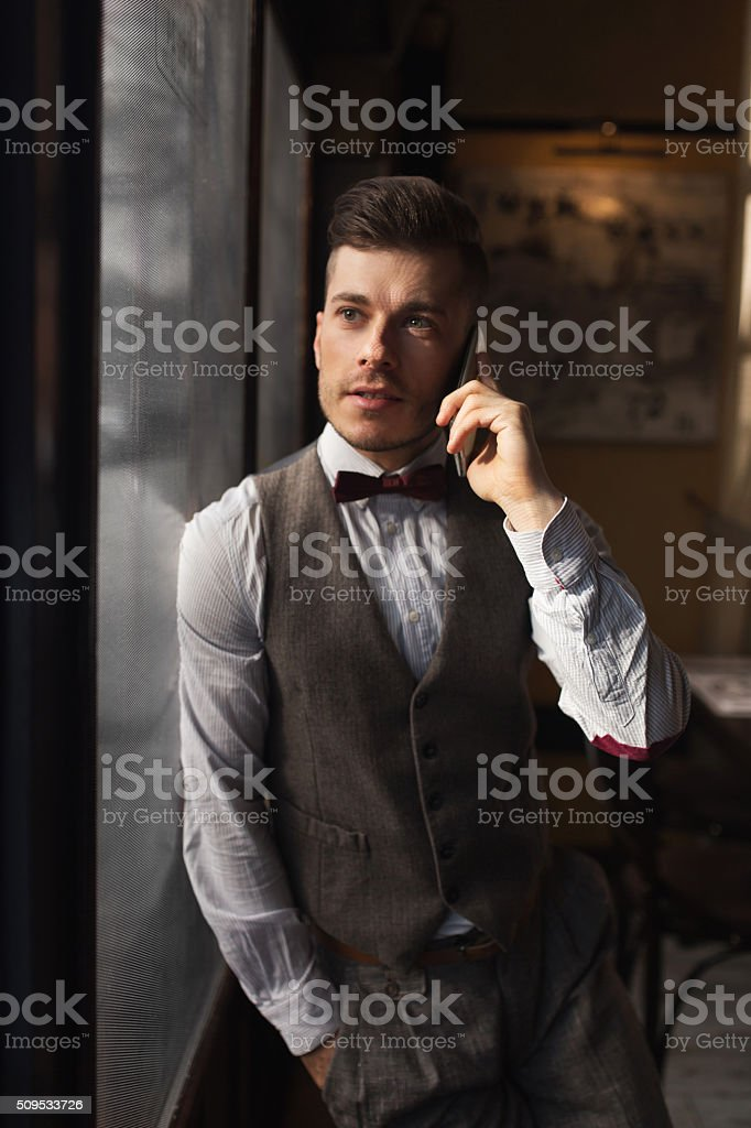 Phone-Talking stock photo