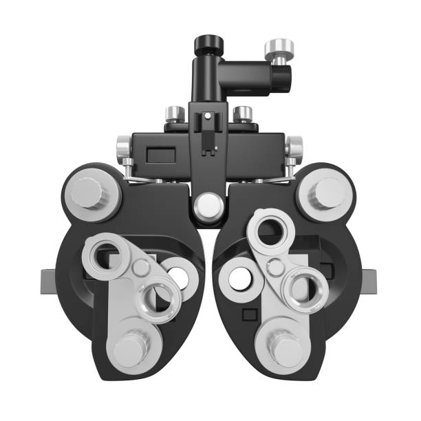 phoropter ophthalomprüfgeräte isoliert - illustration optician stock-fotos und bilder