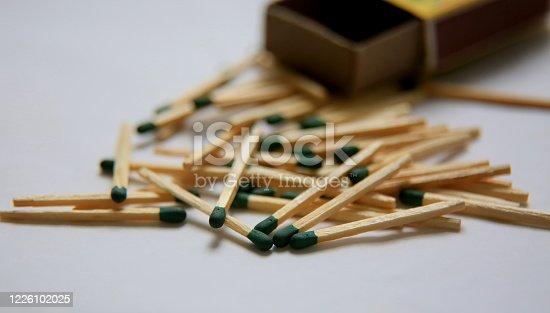 salvador, bahia / brazil - may 20, 2020: matchsticks are seen next to the box.