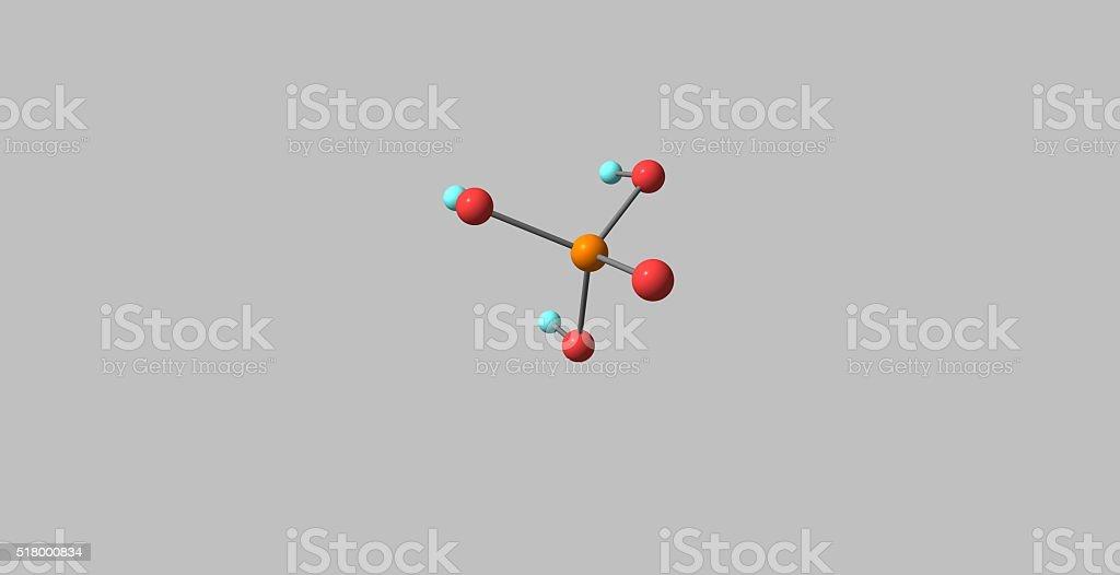 Phosphoric acid molecular structure isolated on grey stock photo