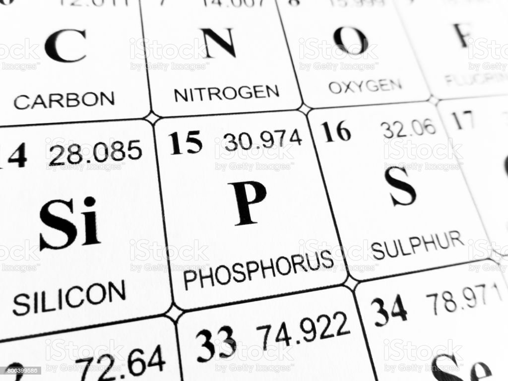 Phosphorus on the periodic table of the elements stock photo