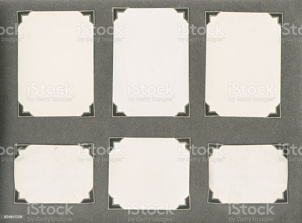 Photo album page corner cardboard background Used paper texture stock photo