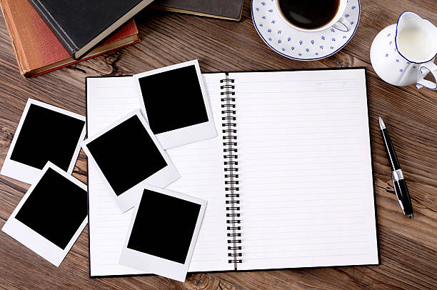 Photo album with coffee and books Writing book or photo album with blank photo prints on a wooden table (paths provided).  Alternative version shown below: medium group of objects stock pictures, royalty-free photos & images