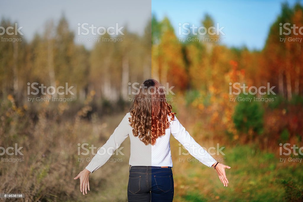 Photo before and after the image editing process. Young woman stock photo