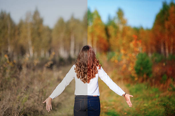 photo before and after the image editing process. young woman - retouched image stock photos and pictures