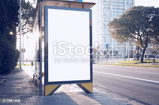 istock Photo blank lightbox on bus stop in the modern city 512981458
