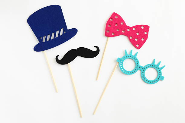 photo booth colorful props for party - maskenparty stock-fotos und bilder