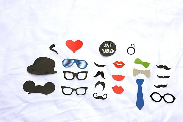 photo booth colorful props for party - schnurrbart fotoautomaten stock-fotos und bilder