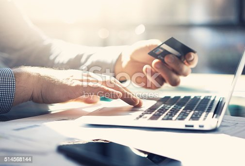 istock Photo businessman working with generic design notebook. Online payments, banking 514568144