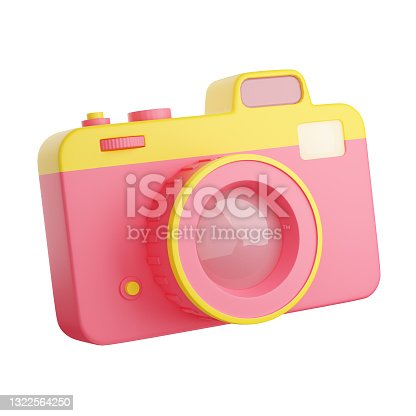 istock Photo camera 3d render illustration. Pink and yellow compact digital photocamera with lens and flash. 1322564250