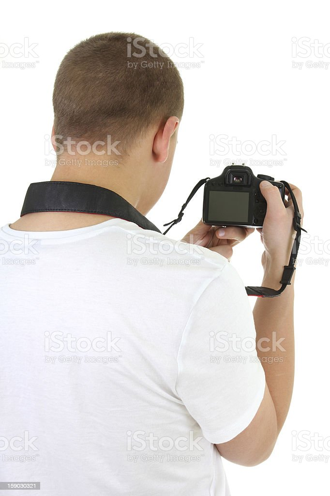 photo camera in male hands stock photo