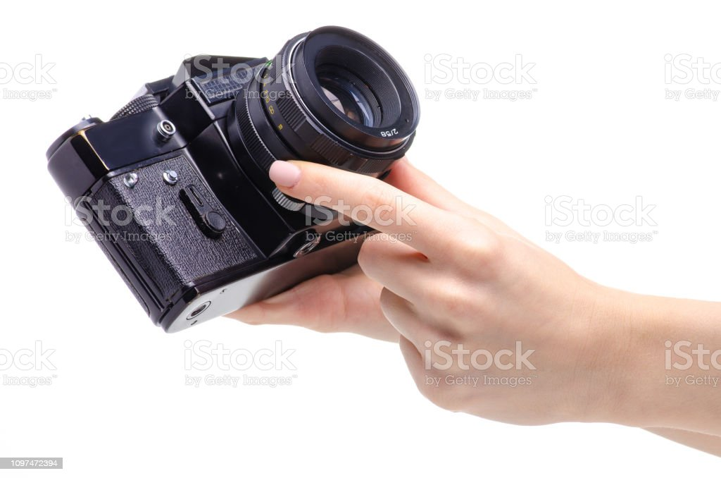 Photo Camera Old In Hands Stock Photo - Download Image Now