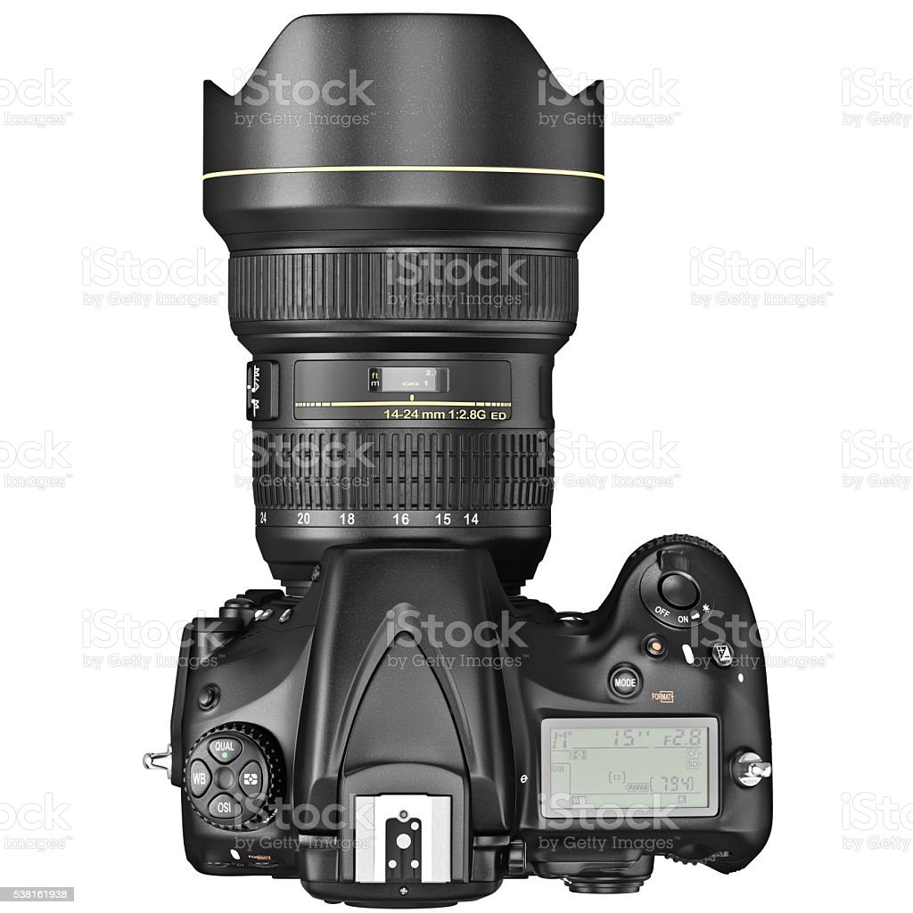 DSLR photo camera, top view stock photo